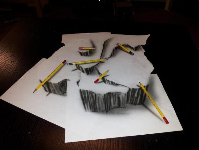 素描 逼真/荷兰艺术家绘制神奇逼真3D素描图